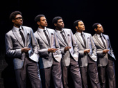 Ephraim Sykes as David Ruffin, Jeremy Pope as Eddie Kendricks, Jawan M. Jackson as Melvin Franklin, James Harkness as Paul Williams and Derrick Baskin as Otis Williams in Ain't Too Proud.