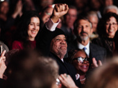 An emotional Berry Gordy rises to his feet for the Ain't Too Proud opening-night curtain call.