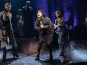 Eva Noblezada as Eurydice and the cast of Hadestown.