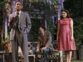 Hampton Fluker as George Deever, Benjamin Walker as Chris Keller and Francesca Carpanini as Ann Deever in All My Sons.