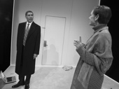 Peter Francis James as Barack Obama and Laurie Metcalf as Hillary Clinton in Hillary and Clinton.