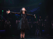 Beetlejuice's leading lady Sophia Anne Caruso takes it all in at opening night curtain call.