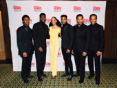 Ain't Too Proud's leading men Ephraim Sykes, Jawan M. Jackson, Jeremy Pope, Derrick Baskin and James Harkness pose with King Kong star Christiani Pitts.