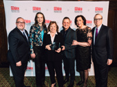 Gala co-chairs Angelo Desmini, Jordan Roth and Thomas Schumacher with the night's honoree Nancy Coyne and MTC's Artistic Director Lynne Meadow and Executive Producer Barry Grove.