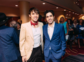 Hadestown star Reeve Carney snaps a photo with Oklahoma! star Damon Daunno. Daunno played Carney's role in Hadestown off-Broadway.