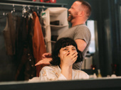 Hadestown Tony nominee Eva Noblezada shares a laugh with hair guru Kevin Thomas Garcia in her dressing room.