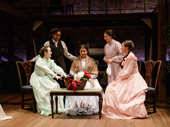 Kate Hamill as Meg, Kristolyn Lloyd as Jo,  Maria Elena Ramirez as Marmie, Paola Sanchez Abreu as Beth and Carmen Zilles as Amy in Little Women.