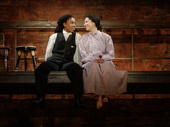 Kristolyn Lloyd as Jo and Paola Sanchez Abreu as Beth in Little Women.