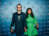 Be More Chill's Will Roland and Stephanie Hsu celebrate.