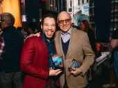 The Boys in the Band star Robin De Jesús with playwright Mart Crowley with the show's awards for Favorite Play Revival.