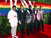 Ain't Too Proud Tony nominees Ephraim Sykes and Derrick Baskin and stars Jawan M. Jackson and James Harkness pose with Temptations founder Otis Williams.