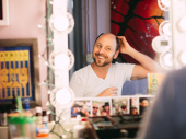 Come From Away's Geno Carr gets in the zone in his dressing room.