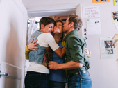 Awww! Come From Away's Jenn Colella, Petrina Bromley and Chad Kimball hug it out.