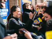 De'Lon Grant, Alex Finke and Jenn Colella greet fans at the stage door after an incredible performance! See Come From Away at the Schoenfeld Theatre.