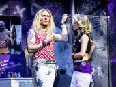 P.J. Griffith as Stacee Jaxx and Kirsten Scott as Sherrie in Rock of Ages.