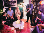 Tootsie's Sarah Styles, Reg Rogers, John Behlmann, Julie Halston, Andy Grotelueschen and Lilli Cooper hang out in Santino Fontana's decked-out dressing room.