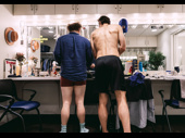 Tony nominee Andy Grotelueschen and John Behlmann get ready in their shared dressing room.