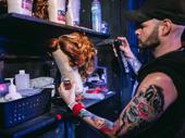 Hairdresser Brian Strumwasser preps a Dorothy Michaels wig for Santino Fontana.