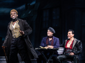Sahr Ngaujah as Toulouse-Lautrec, Aaron Tveit as Christian and Tam Mutu as The Duke in Moulin Rouge!