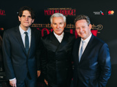 Moulin Rouge! Broadway director Alex Timbers, film director Baz Luhrmann and Broadway scribe John Logan on the red carpet.