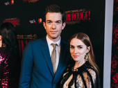 Comedian and Broadway alum John Mulaney hits the red carpet for opening night of Moulin Rouge! with his wife Annamarie Tendler.