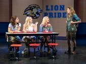 Krystina Alabado as Gretchen, Reneé Rapp as Regina, Kate Rockwell as Karen and Erika Henningsen as Cady in Mean Girls.