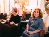 Oklahoma! Tony nominee Mary Testa spends time backstage before the performance with Stage Manager Jason Kaiser.