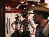 Oklahoma! gents Damon Daunno, James Davis and Anthony Cason exude cowboy vibes pre-show.