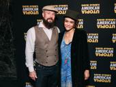 Hadestown Tony nominee Amber Gray attends opening night of American Utopia with her husband Gaylen Hamilton.