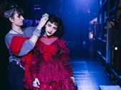 Sophia Anne Caruso is a vision in red for Lydia's wedding ceremony.