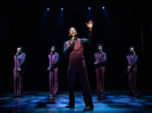 Jelani Remy as Eddie Kendricks and the cast of Ain't Too Proud.