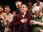 The Inheritance playwright Matthew Lopez takes in the opening night applause.