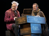Campbell Scott as Scrooge and Dashiell Eaves as Bob Cratchitt in A Christmas Carol.