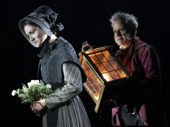 Sarah Hunt as Belle and Campbell Scott as Ebenezer Scrooge in A Christmas Carol.