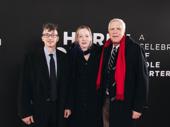 Set designers Beowulf Boritt and Mimi Bilinski, and lighting designer Ken Billington arrive at the theater.