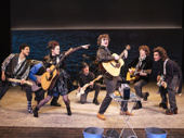 """Jakeim Hart, Max William Bartos, Zara Devlin, Sam Poon, Brenock O'Connor, Brendan C. Callahan and Gian Perez play the band of the eponymously named """"Sing Street"""" at New York Theatre Workshop"""