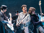 """Sam Poon as Eamon, drummer Anthony Genovesi, Jakeim Hart as Larry and Gian Perez as Kevin in """"Sing Street"""" at New York Theatre Workshop."""