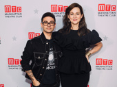 Fashion designer Christian Siriano poses with Laura Linney, whom he dressed for the occasion.