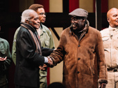 Charles Fuller shakes the hand of Douglas Turner Ward, a founding member of the Negro Ensemble Company who directed the original production of A Soldier's Play at the seminal black theater.