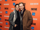 Tony winner and Second Stage Theater alum Stephanie J. Block and husband Sebastian Arcelus arrive at the theater.