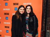 Tony nominee Phillipa Soo poses on the red carpet with actress Anna Wood.