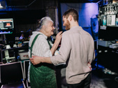 Lois Smith and Kyle Soller congratulate each other backstage on a job well done.
