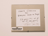 Lois Smith wrote a kind (and funny) note for all of the backstage crew when The Inheritance opened on Broadway.