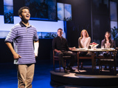 Jordan Fisher as Evan, Ivan Hernandez as Larry, Christiane Noll as Cynthia and Gabrielle Carrubba as Zoe in Dear Evan Hansen.