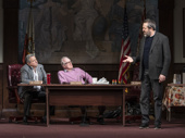Jeff Still as Mr. Assalone, Tracy Letts as Mayor Superba and Ian Barford as Mr. Carp in The Minutes.