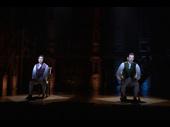 Jin Ha as Aaron Burr and Miguel Cervantes as Alexander Hamilton in Hamilton.