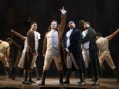 Daniel Yearwood as John Laurens, Miguel Cervantes as Alexander Hamilton, James Monroe Igelhart as Marquis de Lafayette and Fergie L. Philippe as Hercules Mulligan in Hamilton.