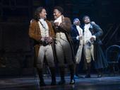 Miguel Cervantes as Alexander Hamilton and Daniel Yearwood as John Laurens in Hamilton.