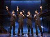 Drew Seeley as Bob, Mark Ballas as Frankie, Nicolas Dromard as Tommy and Matt Bogart as Nick in Jersey Boys.