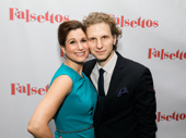Stephanie J. Block and husband Sebastian Arcelus celebrate her Broadway opening in Falsettos.